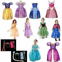 Frozen Elsa Snow White Tangled Princess Girls Costume Fancy Dress Party 2-7 year