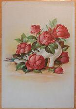 PAUL DE LONGPRE VICTORIAN LITHOGRAPH VINTAGE COLOR ROSES & SHOE 1908