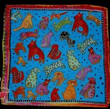 """USA NWOT Dogs Silk Scarf 19"""" Vibrant Turquoise Yellow Red Black Hand Rolled Hem"""