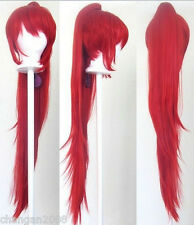 Wavy Pony Tail Clip Red Cosplay Wig 40''