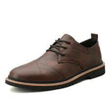 Mens Round Toe Work Non-slip Lace up Business Oxfords New Leisure Leather Shoes