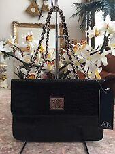 NWT Anne Klein Lion Lady Croc Embossed Black Satchel Shoulder Bag Purse