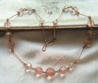 VINTAGE CZECH  ART DECO CHAMPAGNE PINK CRYSTAL BEAD ROLLED GOLD NECKLACE