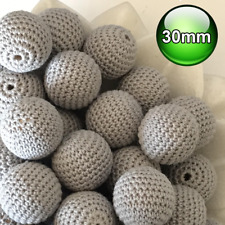 10 x Crochet wood beads 30mm Grey large wooden teething baby safe jewellery