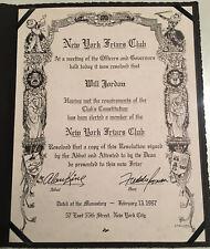 Friars Club Membership Certificate Of Will Jordan 1997 Signed By Freddie Roman