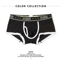 Pinkhero Brand Men Ice Silk Mesh U Design Underwear Boxer Briefs Shorts Black