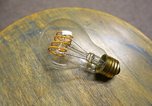 LED Edison Bulb A19, Curved Vintage Spiral Loop Filament, 4watt (40w), Dimmable