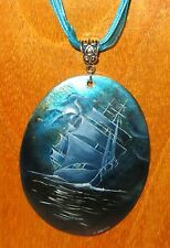 Genuine Russian Hand Painted SHELL Pendant White Sails SHIP Boat BLUE NIGHT SEA