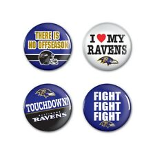 "Baltimore Ravens Wincraft NFL Button Pins 4 Pack 1-1/4"" Round FREE SHIP!"