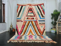 "Boujad Handmade Tribal Moroccan Rug 5'8""x8'7"" Striped Pastel Colors Berber Rug"