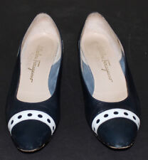 Ferragamo vintage ballerina flats blue with white cut out dots 7.5 Aaa