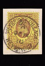 SG234 1906 3d. Purple/ lemon (C). DLR. Superb used example on small piece.