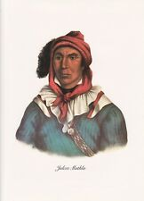 """1972 Vintage Full Color Art Plate """"SEMINOLE CHIEF MATHLA"""" NATIVE AM INDIAN Litho"""