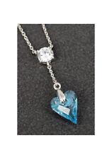 Genuine Swarovski Necklace Blue Heart Pendant - Platinum Plated By Equilibrium