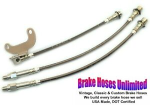 STAINLESS BRAKE HOSE SET Lincoln Continental 1975 1976 1977 1978 1979
