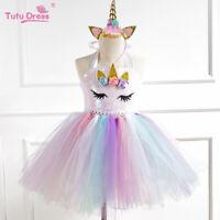 Kids Flower Girls Party Unicorn Tutu Tulle Fancy Dress Costume + Headband Outfit