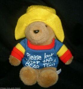 "9"" VINTAGE 1988 EDEN BABY PADDINGTON TEDDY BEAR STUFFED ANIMAL PLUSH TOY W SHIRT"