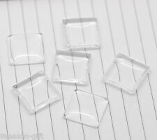 100 Clear Square Glass Dome Tile Seals 20x20mm B16769