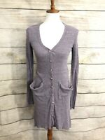 FP Free People Beach Womens Small Ribbed Up Maxi Cardigan Duster High Low