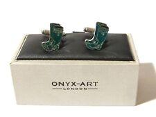 Green Wellies Wellington Boots Cufflinks by Onyx - Art London Brand New Gift Box
