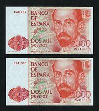 F.C. PAREJA CORRELATIVA 2000 PESETA 1980 , SIN SERIE , S/C .