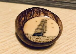 Scrimshaw on Tagua Nut ~ Sailing Ship. Artist Signed.