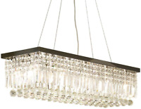 Etelux Chandelier Pendant Lighting Rectangular K9 Crystal Ceiling Light Fixture