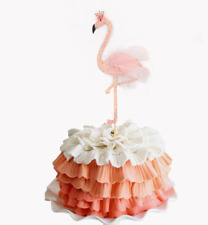 high glitter feather flamingo cake topper tropical hawaiian party decoration