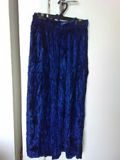 Long Blue Viscose Skirt Elastic Waist with Tie Front