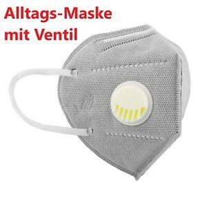 Mund-Nasen-Bedeckung Alltags-Maske mit Ventil / Grau Wiederverwendbar
