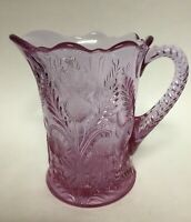 Mosser Glass Inverted Thistle Cranberry Ice Pink Glass Pitcher 6 5/8""