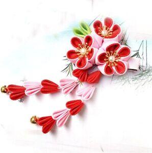 Pink Red Rose Sakura Flower Kimono Accessory Pure Handmade Hair clip Pin Headdre