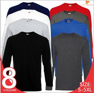 FOTL Mens Valueweight Long Full Sleeve T-Shirt Casual Tee Shirt Plain TOP S-5XL