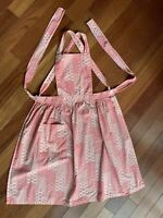 Vintage Pink Ivory Full Apron Fan Print Pocket Cross Over Straps Dot Flower