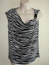 Womens Michael Kors Stretch Knit Top M P Black White Silver Decor on one side