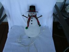 """LOVELY ~13"""" CORDED ELECTRIC LIGHTED SNOWMAN  WITH HAT&SCARF!!"""