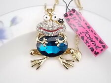 Betsey Johnson  Cute Frog Frog blue crystal pendant necklace # F340H