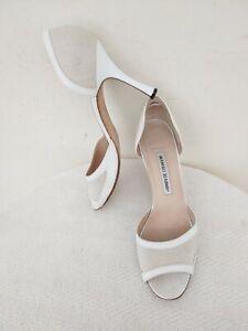 MANOLO BLAHNIK White Leather/Fabric,High Heel Women's Shoes,SizeEU40/US9,5