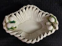 Vintage Mid-Century Modern Ceramic Italian Twisted Ribbon Bowl Pottery Fruit