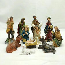 "Christmas Nativity Scene 11pce Set 8"" 12cm Resin Christian Religious Figurines"