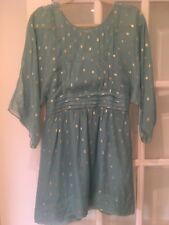 Juicy Couture Turquoise and Gold Silk Mini Dress