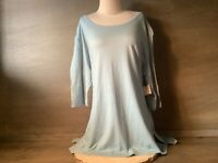 TERRA & SKY WOMENS TUNIC TEE 3/4 SLEEVE PLUS SIZES  1X 2X 3X 5X STUDIO BLUE NWT