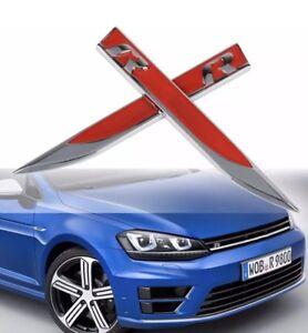 2 PCS VW R-TYPE METAL EMBLEM BADGES IN RED & SILVER