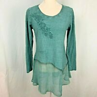Soft Surroundings Esperanza Tunic Top XS Sagebrush Green Jersey Knit Applique