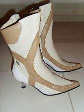 Stiefel Stiefeletten Echtleder Gr. 38 von 25x,  METALLABSATZ braun weiß