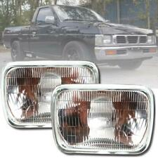 Headlights Lamp H4 Halogen Glass Pair Fit Nissan Datsun D21 Hardbody Pickup