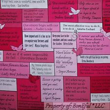 BonEful Fabric FQ Cotton Quilt Pink Black B&W Word Breast Cancer Lady Bird Block