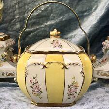 RARE Sadler Cube Biscuit Barrel | Yellow Stipe Pink Orchids | James Sadler