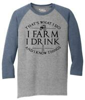 Mens That's What I Do I Farm Drink Know Things 3/4 Triblend Country Tv Graphic