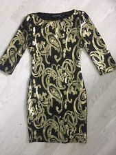 TOPSHOP PETITE SEQUIN DRESS BLACK GOLD PAISLEY DESIGN UK 4 PARTY COCKTAIL